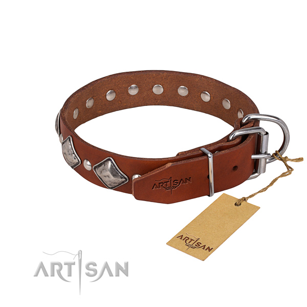Tough leather dog collar with riveted details
