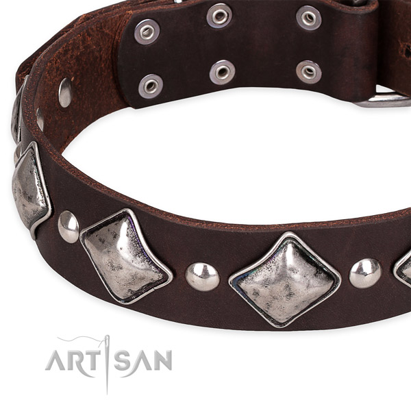 Easy to put on/off leather dog collar with extra sturdy chrome plated buckle
