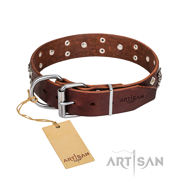 Indestructible leather dog collar with rust-resistant hardware