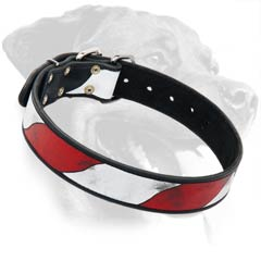 Rottweiler Leather Dog Collar with USA flag