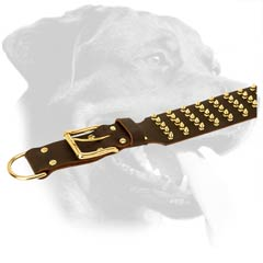 Easy-to-use Rottweiler Leather Dog Collar