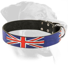 Leather Rottweiler Collar Decorated with Flag of Great Britain