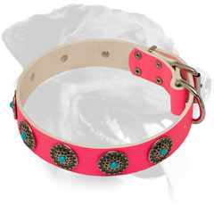 Pink Leather Dog Collar for Rottweiler with Hand Set Decoration