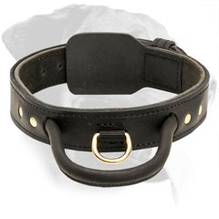 Leather Rottweiler Collar With Reliable Handle and Brass D-Ring