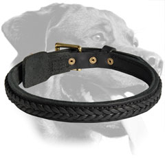 Rottweiler Handcrafted Leather Collar with braiding