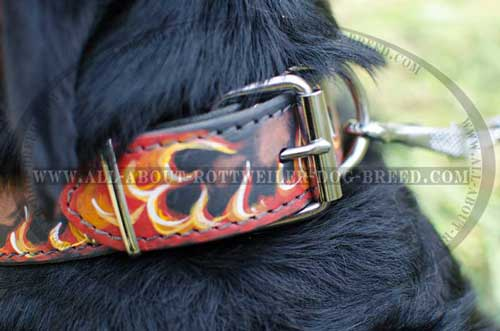 Rottweiler Stylish Leather Collar with Flames
