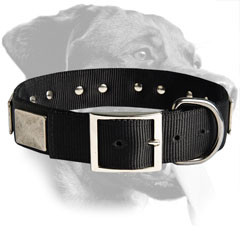 Rottweiler Handcrafted Nylon Collar with Plates