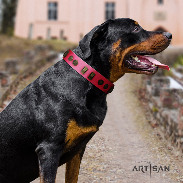 Rottweiler easy adjustable leather dog collar with stylish design decorations