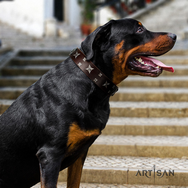Rottweiler handy use genuine leather collar for your lovely dog