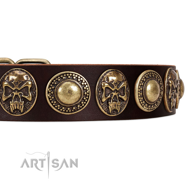 Full grain natural leather dog collar with decorations for comfortable wearing