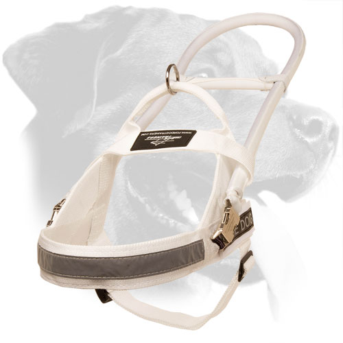 Bright White Nylon Rottweiler Harness with Long Handle for Guide Dogs