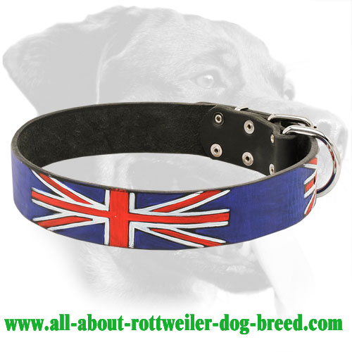 'Union Jack' Rottweiler Leather Collar