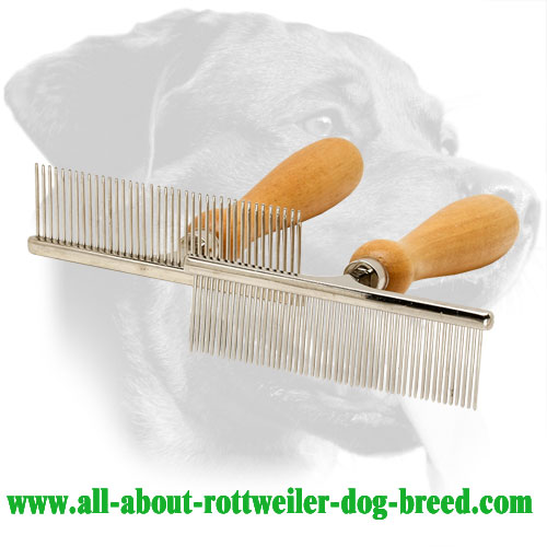 Steel Rottweiler Comb with Wooden Handle