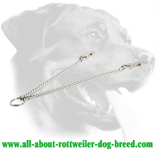Chrome Plated Steel Rottweiler Coupler with Durable Snap Hooks, 1/9 inch (3 mm) Link Diameter