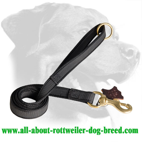 Nylon Rottweiler Leash with Firm Grip Handle - Click Image to Close