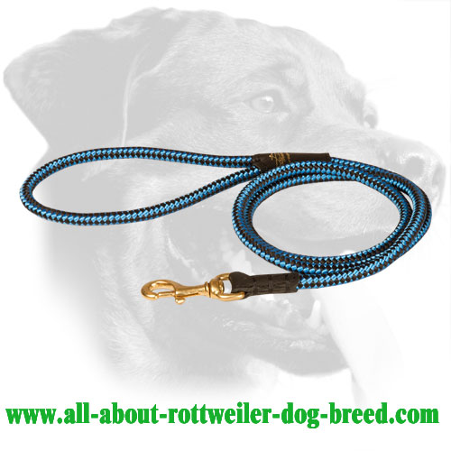 Nylon Cord Rottweiler Leash with Brass Snap Hook