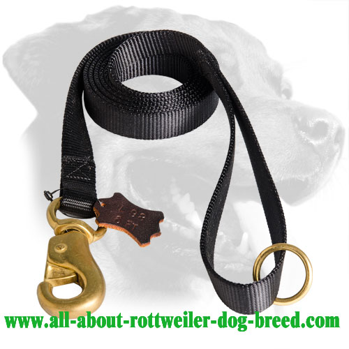 Nylon Rottweiler Leash with Reinforced Brass Snap Hook