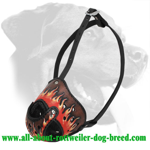 Flames Painted Leather Rottweiler Muzzle for Training and Walking