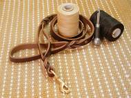 Leather Dog Leash With Extra Handle-3/4 inch on 5 foot DOG LEASH