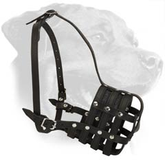 Extra Strong Mesh Leather Dog Muzzle for Rottweiler