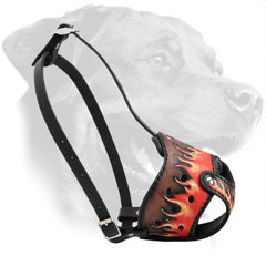 Hand Painted Leather Dog Muzzle for Rottweiler Adjustable in 2 Ways