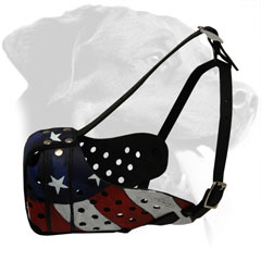 Leather Dog Muzzle for Rottweiler with Painted American Flag