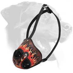 Ventilated Leather Rottweiler Muzzle with Hand Painted Flames