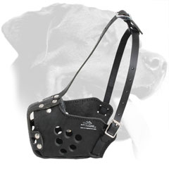 Well Adjustable Police Leather Dog Muzzle for Rottweiler