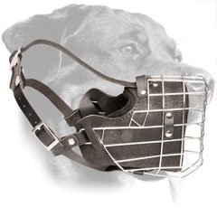 Wire Basket Leather Rottweiler Muzzle with Strong Adjustable Straps