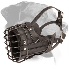 Basket Wire Leather Rottweiler Muzzle with Felt Nose Padding
