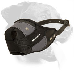 Extra Strong Leather and Nylon Dog Muzzle for Rottweiler Agitation Training