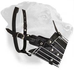 Wire Rottweiler Muzzle Equipped with Leather Padding