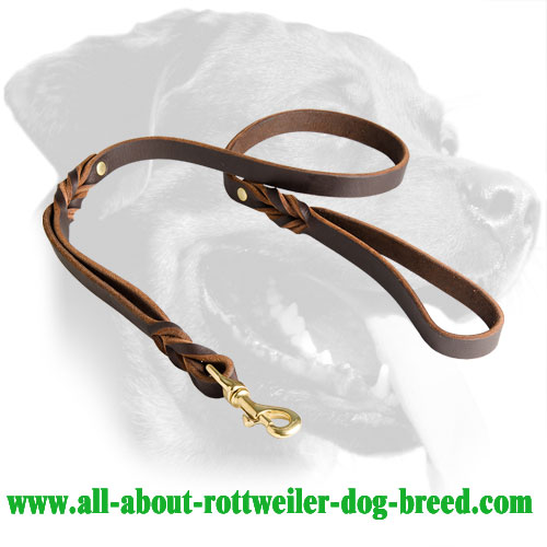 Leather Rottweiler Leash Equipped with Two Handles