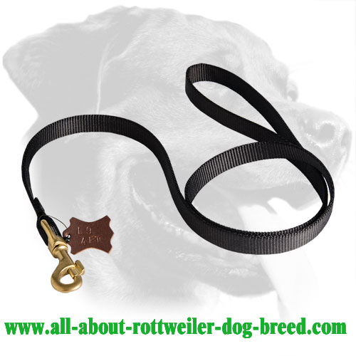 Nylon Rottweiler Leash Equipped with Brass Snaphook