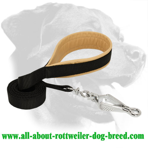 Nylon Rottweiler Leash Equipped with Herm Sprenger Snap Hook